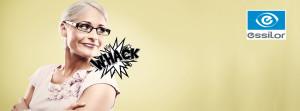Frau mit Ersatzbrille für Essilor TV Kampagne