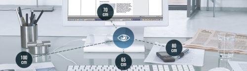 Eine Bildschirmarbeitsplatzbrille für unterschiedliche Arbeitsentfernungen.